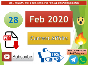 Current Affairs 28 February 2020 In Hindi+English Gk Question