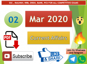 Current Affairs 2 March 2020 In Hindi+English Gk Question