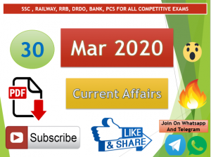 Current Affairs 30 March 2020 In Hindi+English Gk Question