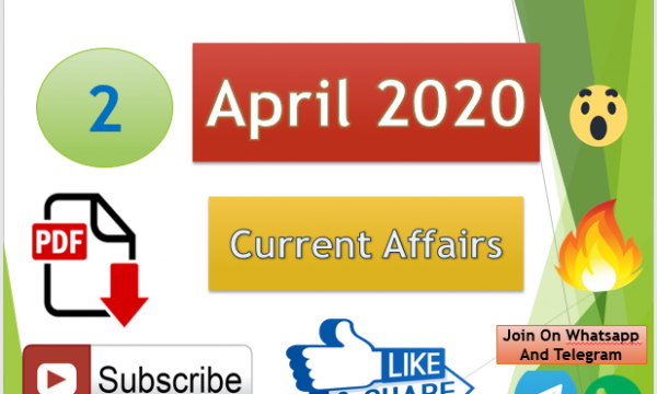 Current Affairs 2 April 2020 In Hindi+English Gk Question