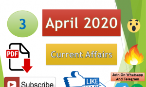 Current Affairs 3 April 2020 In Hindi+English Gk Question