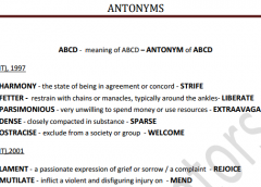 Compilation of Antonyms in SSC Exams Pdf Download