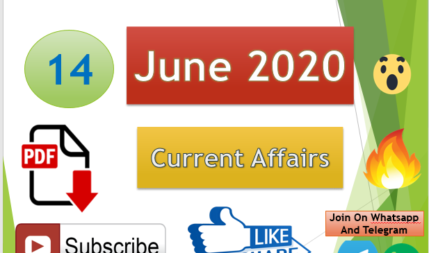 Current Affairs 14 June 2020 In Hindi+English Gk Question