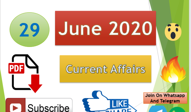 Current Affairs 29 June 2020 In Hindi+English Gk Question