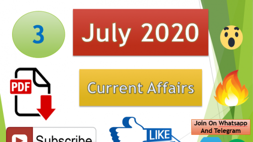 Current Affairs 3 July 2020 In Hindi+English Gk Question