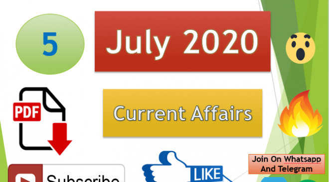 Current Affairs 5 July 2020 In Hindi+English Gk Question