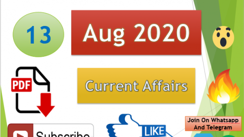 Current Affairs 13 Aug 2020 In Hindi+English Gk Question