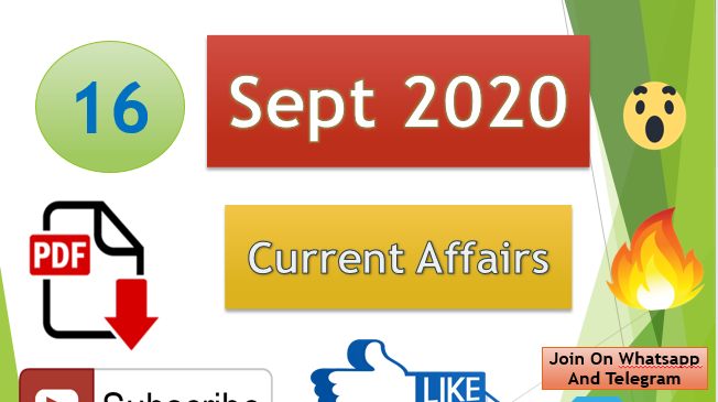 Current Affairs 16 Sept 2020 In Hindi+English Gk Question