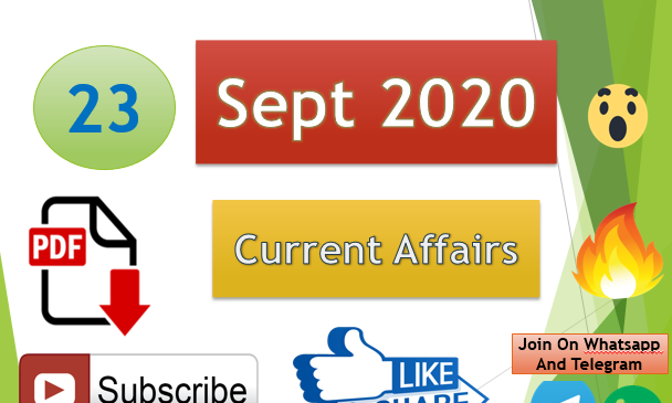 Current Affairs 23 Sept 2020 In Hindi+English Gk Question