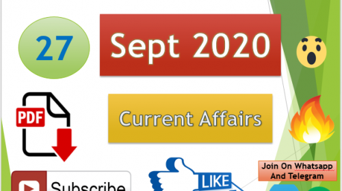 Current Affairs 27 Sept 2020 In Hindi+English Gk Question