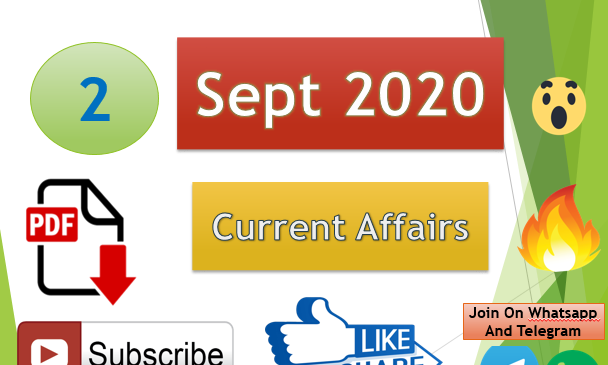 Current Affairs 2 Sept 2020 In Hindi+English Gk Question