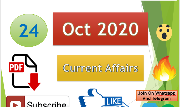 Current Affairs 24 Oct 2020 In Hindi+English Gk Question