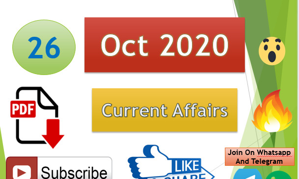 Current Affairs 26 Oct 2020 In Hindi+English Gk Question