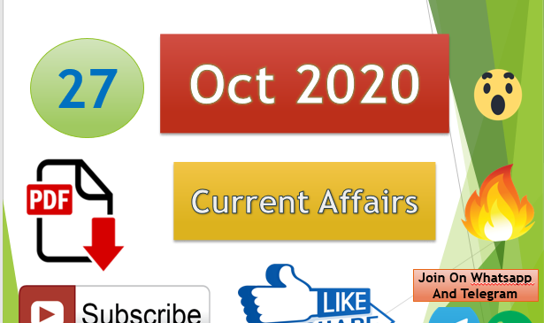 Current Affairs 27 Oct 2020 In Hindi+English Gk Question