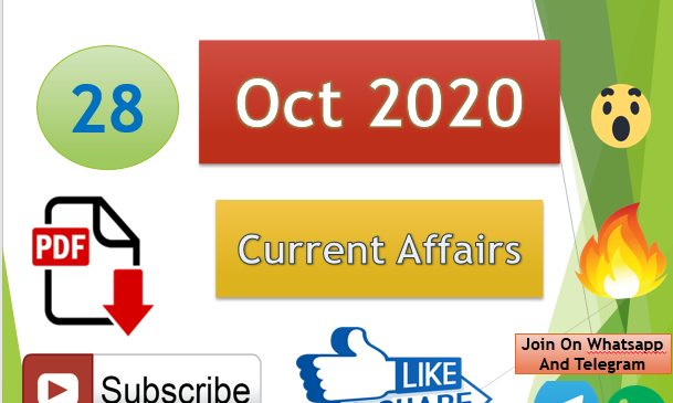 Current Affairs 28 Oct 2020 In Hindi+English Gk Question