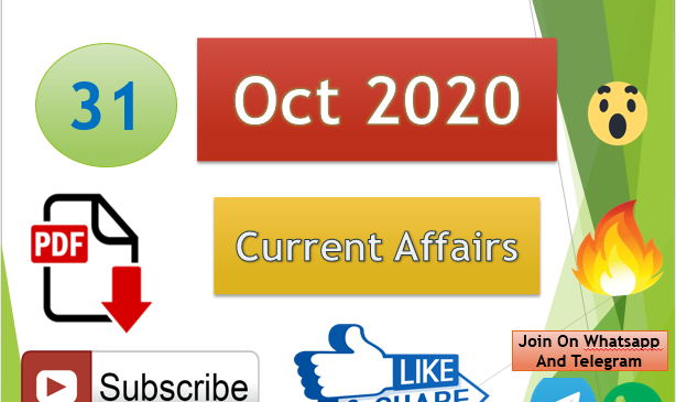 Current Affairs 31 Oct 2020 In Hindi+English Gk Question