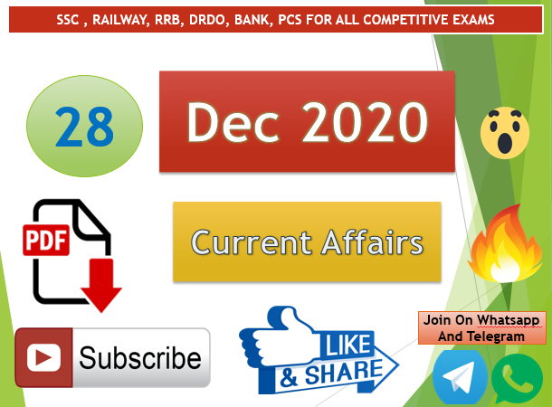 Current Affairs 28 Dec 2020 In Hindi+English Gk Question