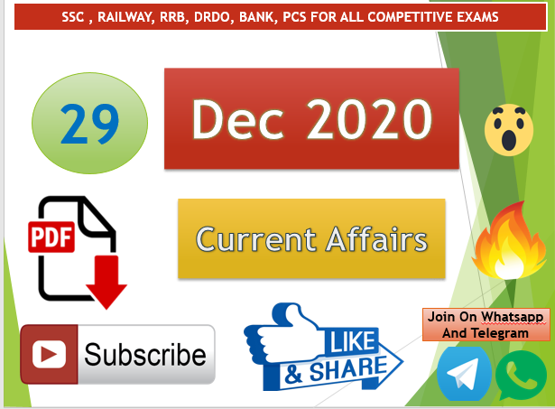Current Affairs 29 Dec 2020 In Hindi+English Gk Question
