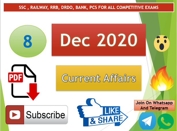 Current Affairs 8 Dec 2020 In Hindi+English Gk Question
