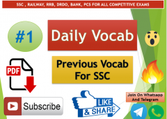 Most Important Previous Year Vocabulary For SSC Exams Daily Vocab #1