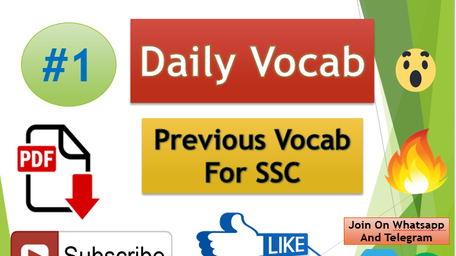 Most Important Previous Year Vocabulary For SSC Exams