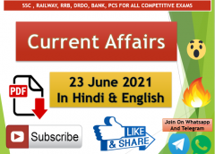 Current Affairs 23 June 2021 In Hindi+English Gk Question With PDF
