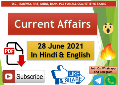 Current Affairs 28 June 2021 In Hindi+English Gk Question With PDF